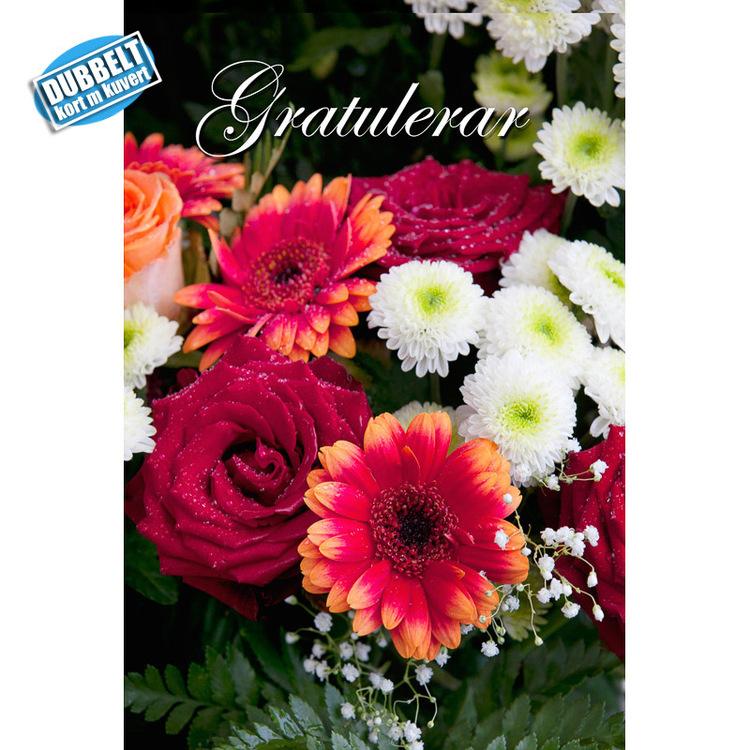 Dubbelt Vykort med kuvert  - Blommor - Gratulationer. Foto: Per Johansson - Joanzon. Kortbutiken säljer detta vykort.