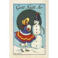 Nyårskort - Flicka med snögubbe - (minikort A7)