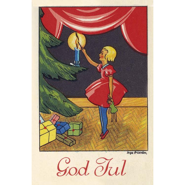 Julkort - Flicka tänder ljus i gran - (minikort A7)