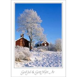 Julkort – Stuga i vinterlandskap