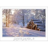 Julkort -Timmerstockar vid väg