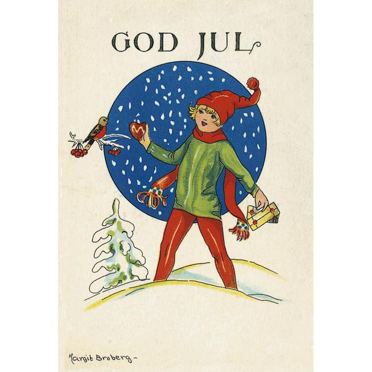 Julkort - Flicka med julfågel -  (minikort A7)