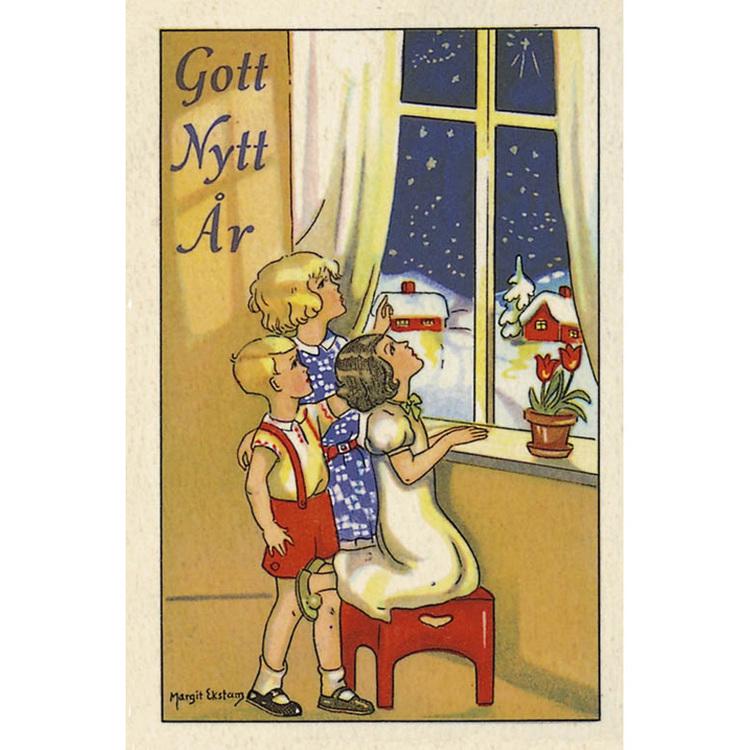Nyårskort - Barn tittar på natthimmel - (minikort A7)