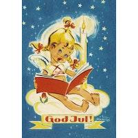Julkort - Flickängel läser bok - (minikort A7)