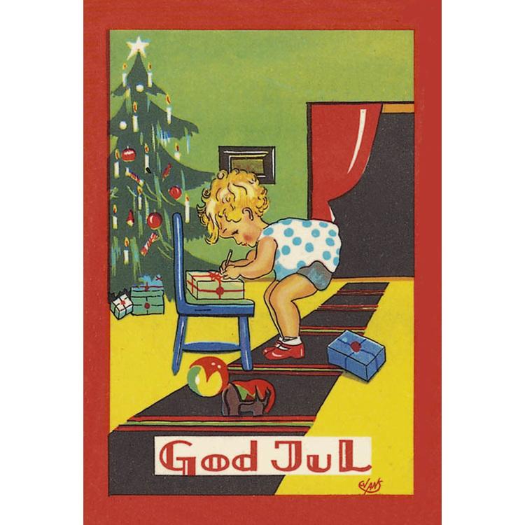 Julkort - Barn och paket - (minikort A7)