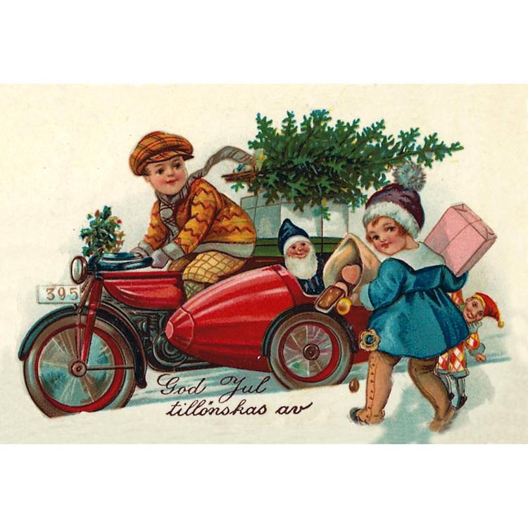 Julkort - Mc med barn - (minikort A7)
