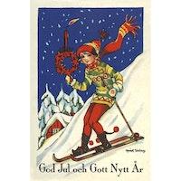 Julkort -  Skidåkande barn - (minikort A7)