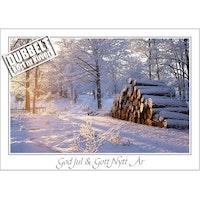 Timmerstockar vid väg - Dubbelt Julkort med kuvert