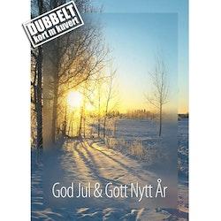 God Jul Morgonsol - Dubbelt julkort med kuvert