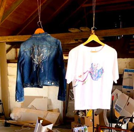 Handmålad jeans jacka