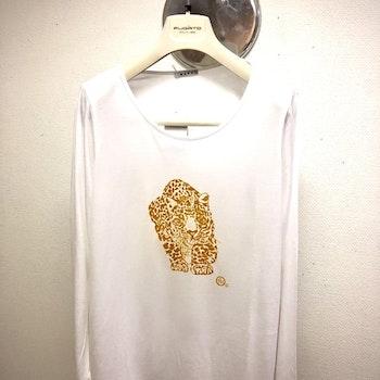 Leopard - vit långärmad t-shirt