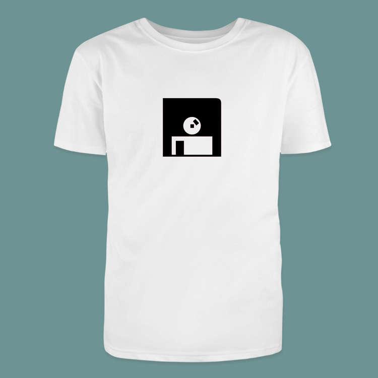 T-shirt med diskett som motiv på t-tröja