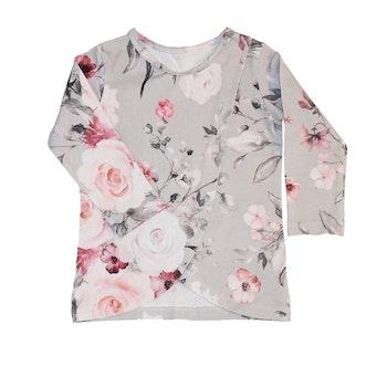 Tröja Fuskomlott - Rosa blommor Grå