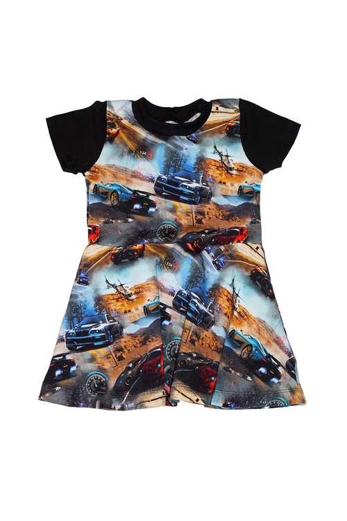 Klockad klänning - Racerbilar