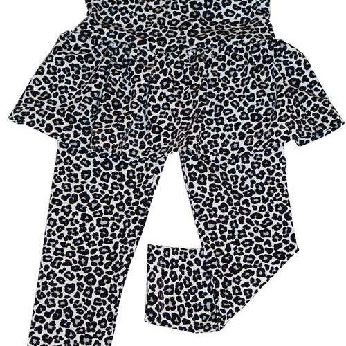 Leggings med kjol - Leopard Grå