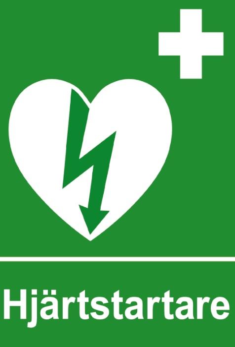 Skylt hjärtstartare med väggfäste (A4)