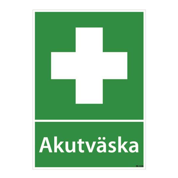 Skylt Akutväska, plast A4