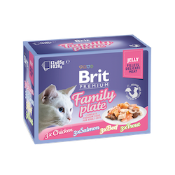 Brit Premium Pouches, Fillets in Jelly Family Plate 12x85g