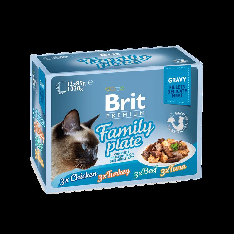 Brit Premium Pouches, Fillets in Gravy Family Plate 12x85g