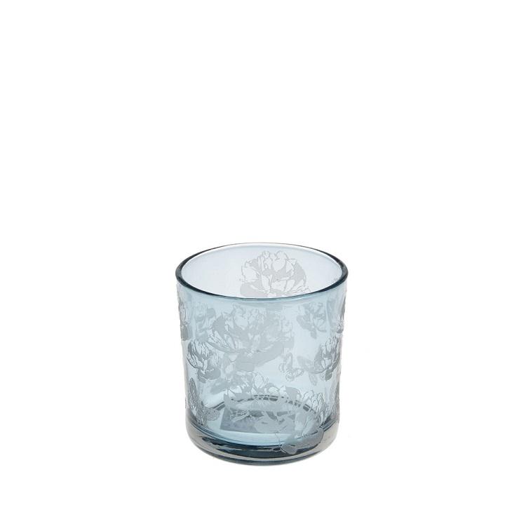 ljuslykta blå glas