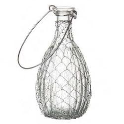 Vas hängande klarglas med metalltråd 14 x 7 cm