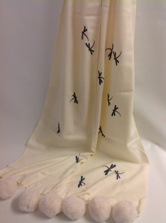 Sjal Dragonfly Off White
