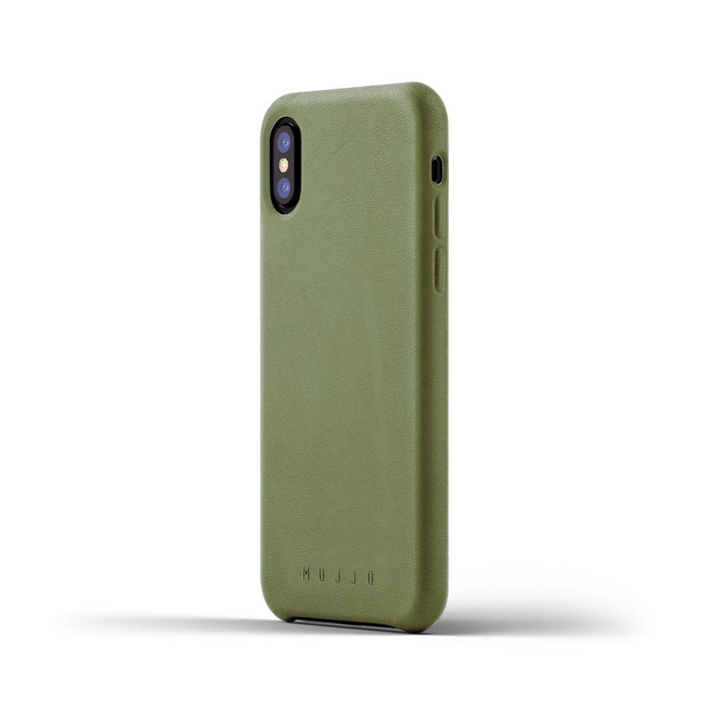 Mujjo läderfodral för iPhone X/XS Oliv