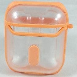 Fodral Air Pods Eggshell 360 - Transparent med orangea detaljer