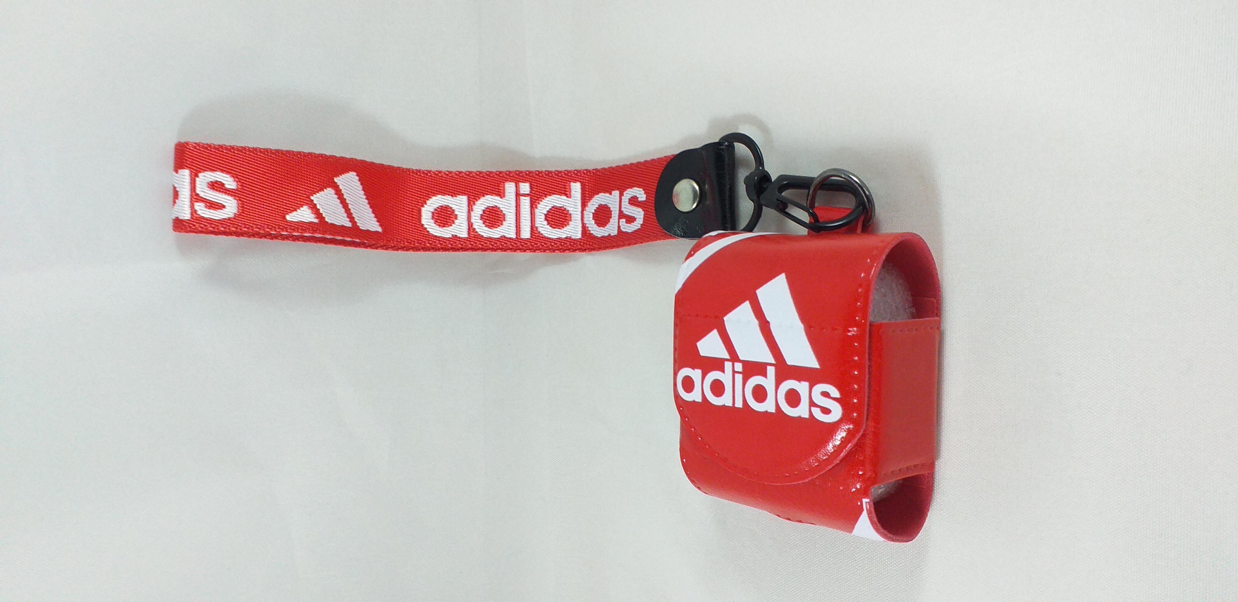 Air pods  Läder väska - Leather Case - Adidas - Röd