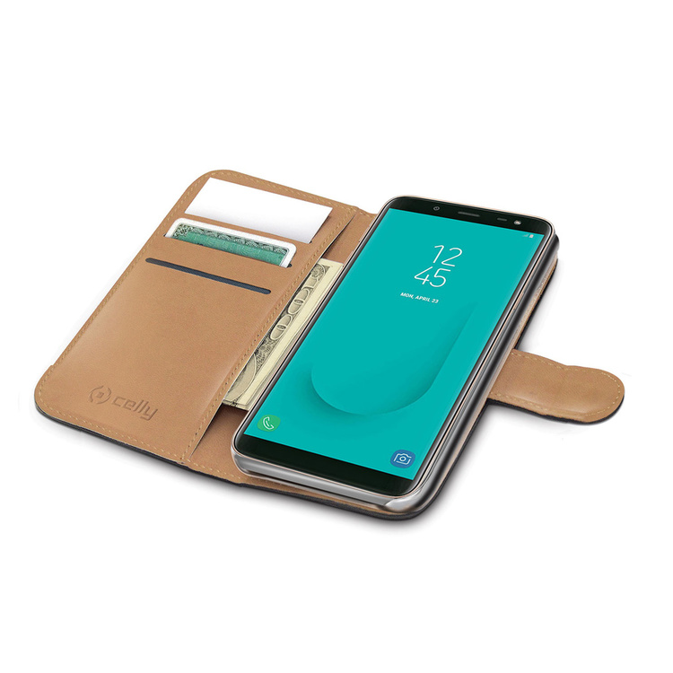 CELLY Wallet Case Galaxy J6 2018 - Svart