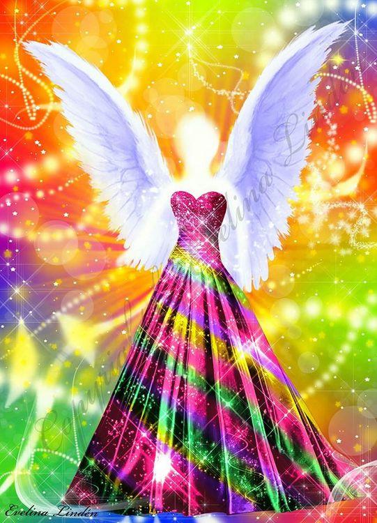 Canvas tavla Regnbågens Ängel från Änglar i mitt hjärta.