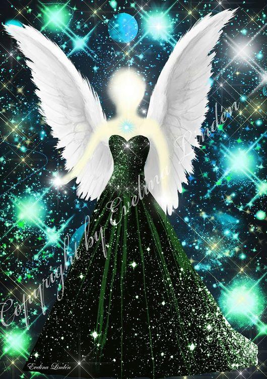 Canvas tavla Kosmiska ljus Ängeln från Änglar i mitt hjärta.