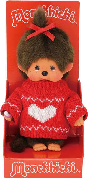 Monchhichi Red Heart Knitted Sweater Girl 20 cm