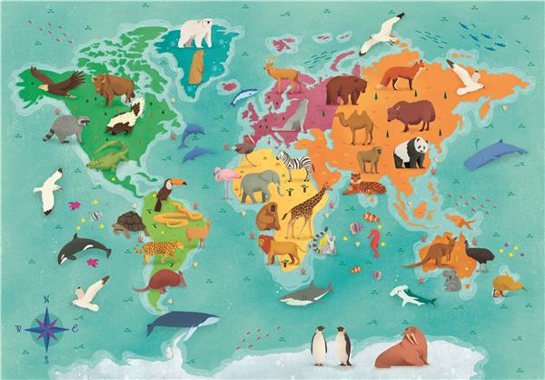 Clementoni SuperColor Pussel - Animals In The World (250 bitar)
