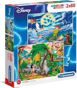 Clementoni Supercolor Puzzles Kids Pussel - Peter Pan + The Jungle Book (2x60 bitar)