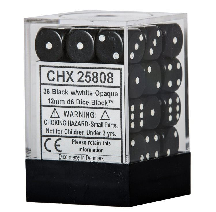 Tärningar - Chessex Opaque 12mm D6 Dice Blocks (36 Dice) - Black w/white