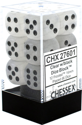 Tärningar - Chessex 16mm D6 Dice Blocks (12 Dice) - Frosted Clear w/black