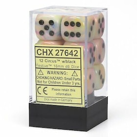 Tärningar - Chessex 16mm D6 Dice Blocks (12 Dice) - Festive Circus w/black