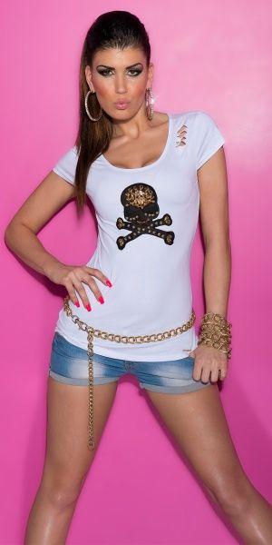 KouCla T-Shirt hodeskalle - hvit