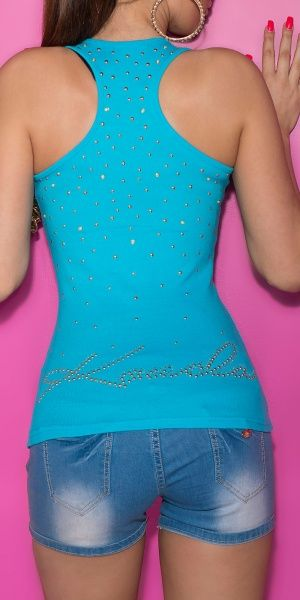 Tanktopp studs and pearls - turkis