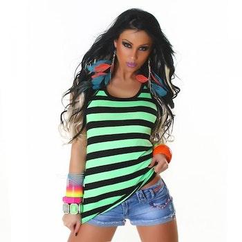 Stripete topp - grønn
