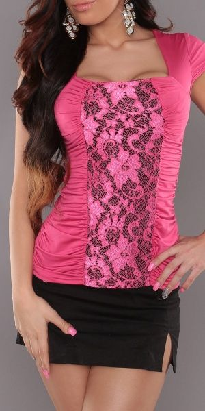 Topp med blonder - rosa