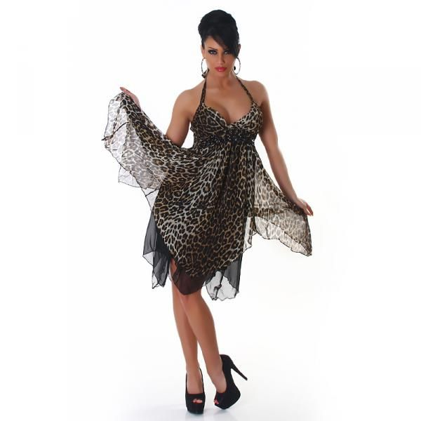Leopardmønstret kjole - brun