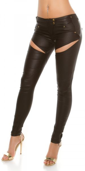 Leatherlook bukse - svart
