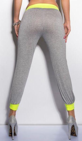 KouCla Sweat bukse - grå/neongul