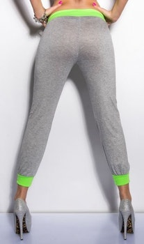 Sweat bukse - grå/neongrønn