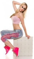 Capri med blonder - rosa