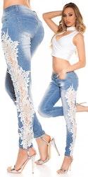 Jeans med blonder - hvit