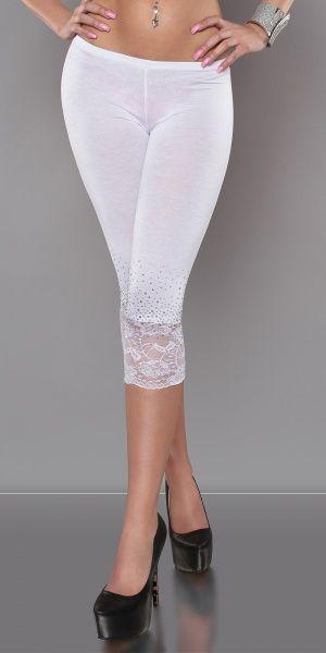 Leggings med blonder og rhinestones - hvit
