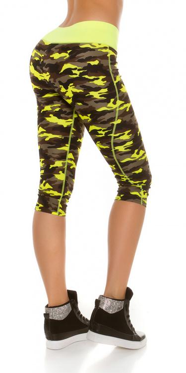 Workout capri - camuflage neongul